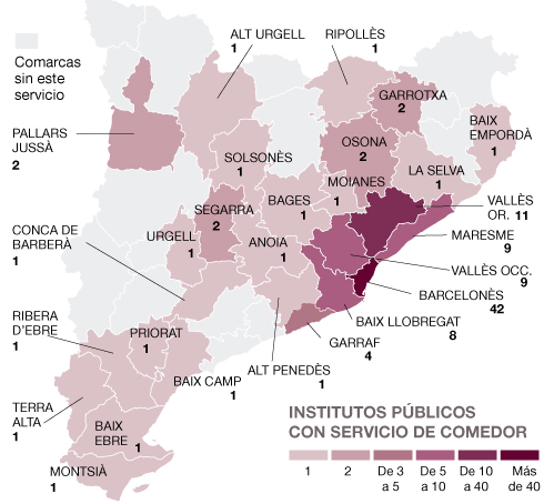 Mapa de los institutos sin comedor en catalunya