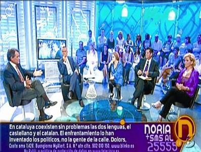 Una entrevista distendida 8 Artur Mas, en tres momentos del programa, junto al presentador Jordi González y los periodistas Pilar Rahola, Alfonso Rojo y María Antonia Iglesias.
