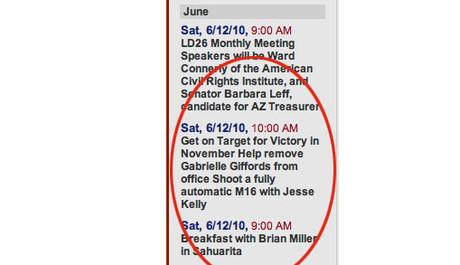 Anuncio amenazador contra Giffords publicado el pasado verano.