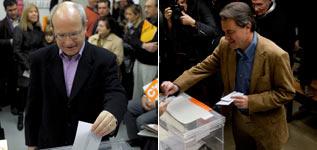 José Montilla y Artur Mas, en el momento de votar en sus respectivos colegios